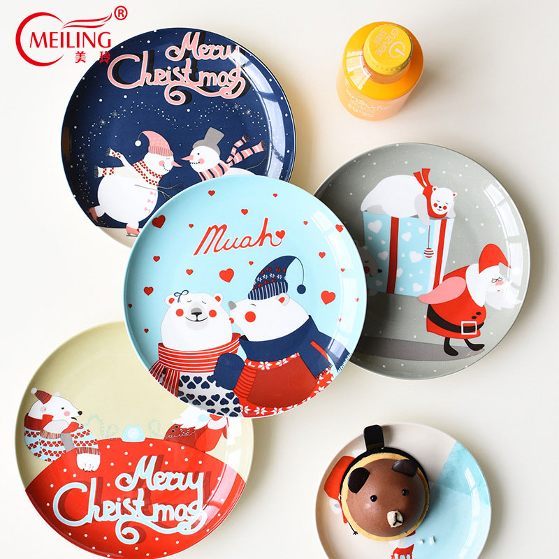 Christmas Platter Plates.Us 19 97 Creative Colorful Christmas Plate Bone China Serving Platter Cute Dinner Plates For Kids Cake Dessert Food Dish Uniqe Child Gift In