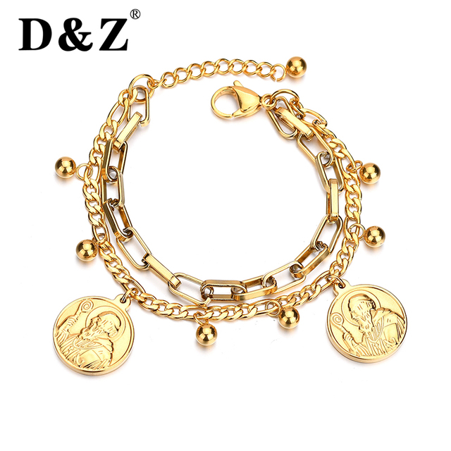 D Z St Benedict Medal Bracelet Women Vintage San Benito Gold Color Stainless Steel For Religious