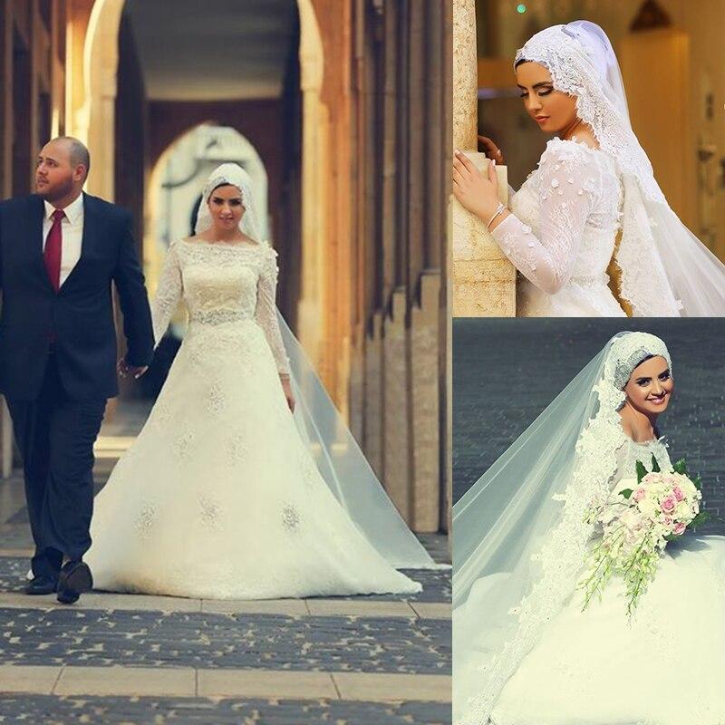 Muslim Wedding Dress 2016 Lace Boat Neck A line Long Sleeve Wedding ...