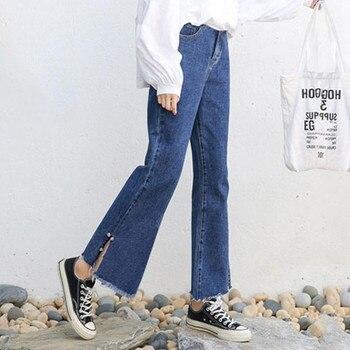 Джинсовые расклешенные брюки для беременных женщин, новинка 2019, свободные джинсы с бусинами по бокам для беременных, модные облегающие джин...