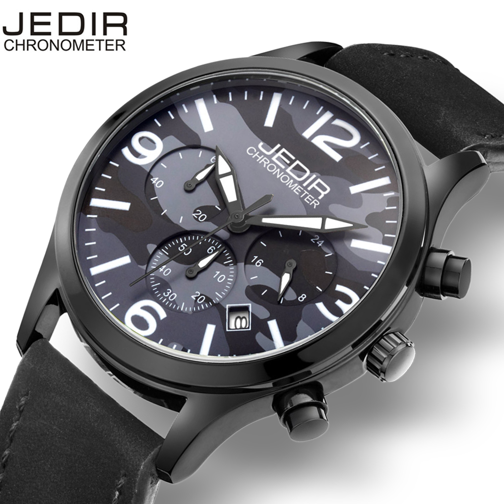 JEDIR Mens Date Chronograph Sports Wrist Watches Waterproof Army Green Nylon Weave Strap Black Steel Case Male Military Watch
