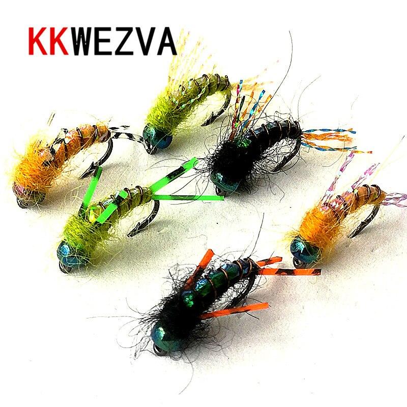 Kkwezva 30 pçs isca de pesca #8 ganchos pretos pele brilhante material ninfa spinner mosca seca inseto isca truta mosca pesca moscas