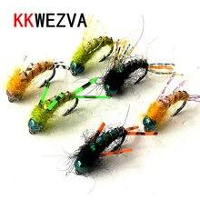 KKWEZVA 36 PCS balıkçılık cazibesi #8 Siyah kanca Parlak Cilt Malzeme Perisi Spinner Kuru Fly Böcek Yem Alabalık Fly balıkçılık Sinekler