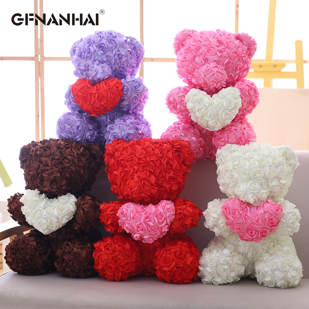 Lovely Toy Rose Bear Multicolor Plastic Foam Kawaii Rose Teddy Bear Valentine Day Gift Birthday Party Decoration Toys For Girls Elegant And Sturdy Package Home & Garden