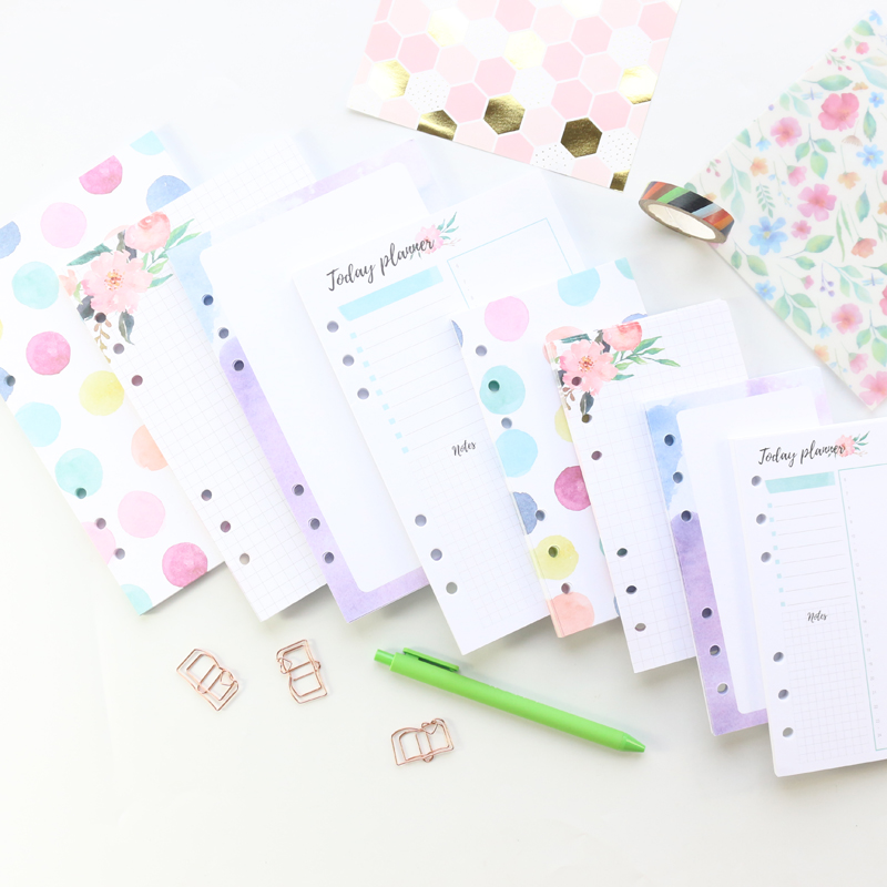 Domikee Candy Cartoon Office School 6 Holes Filler Inner Papers Core For Binder Planner Spiral Notebook Stationery,A5A6,40sheets