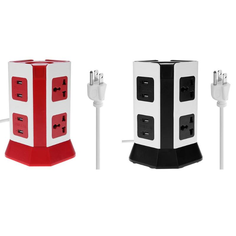 цена на 2 Layer Power Socket 4 USB Ports Universal Vertical Electrical Socket Outlet 6 Outlet Plugs Protector Power Board US Plug