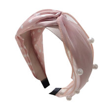 Pearl bow Chiffon pink Women Crystal Hairband Fabric headbands Head Wrap Hair Band Accessories horquillas de pelo para mujer(China)