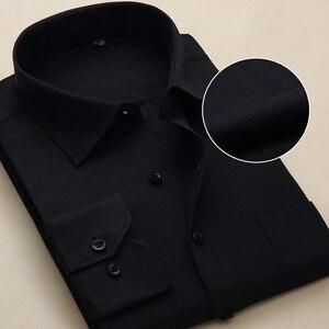 Image 4 - Chemise à manches longues pour hommes, blanche et formelle, cintrée, rayures solides, grande taille