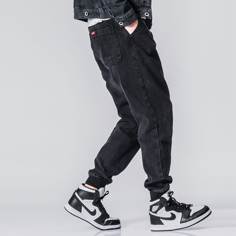 Fashion Streetwear Men Jeans Vintage Designer Black Cargo Pants Hip Hop Harem Trousers Spliced Slack Bottom Joggers Jeans Men