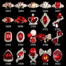 100pcs/bag 20Kinds 3d alloy nails art decorationRED Gem nail glitter rhinestone stickers tools supplier 3693-3711