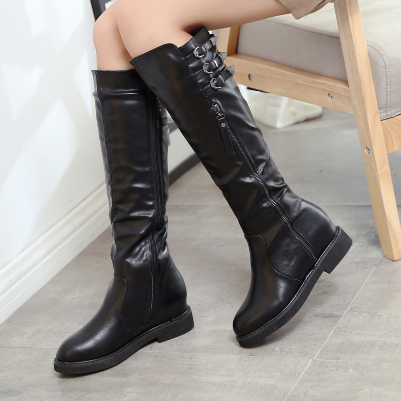 ФОТО 2016 autumn and winter boots genuine leather flat tall boots  wedges straight high-leg boots 43 plus size boots 41 42