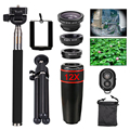 Universal Clip Camera Lens Kit 12X Telephoto Telescope Lens Fisheye Macro Wide Angle Lenses lentes Microscope With Mobile Tripod