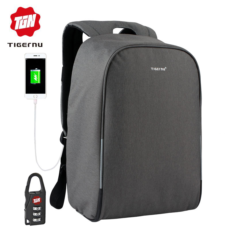 Tigernu Business Men Backpack USB Charging Port Fits Under 15 6 Laptop Notebook Travel School bag