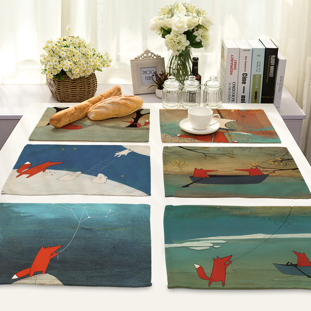 Cute Cartoon fox Pattern Table Mat Animal Table Napkin Placemat Kitchen Decoration Dining Accessories 42x32cm MA0037
