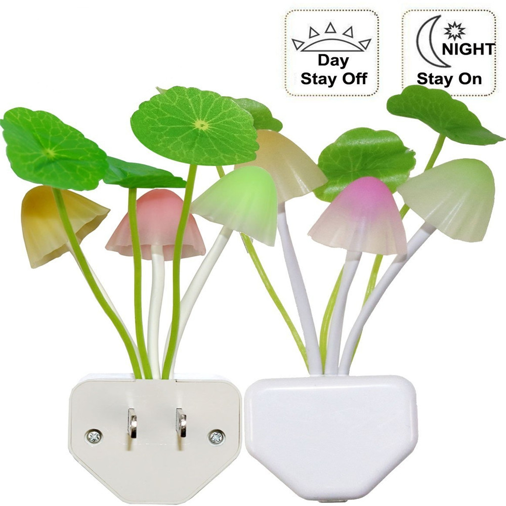 Colorful LED Motion Sensor Mushroom Night Light Bed Lamp Home Illumination Wireless Light Sensor Automatic Startup US/EU P