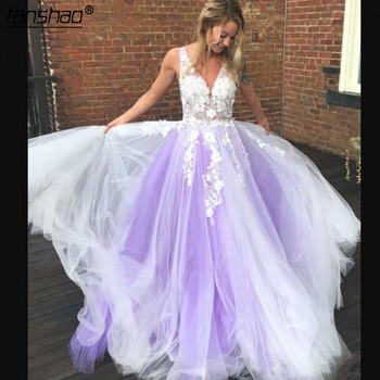 Lilac Charming Evening Dresses V Neck Lace Appliques Tulle Chiffon Sweep Train White & light Purple A Line Prom Dresses