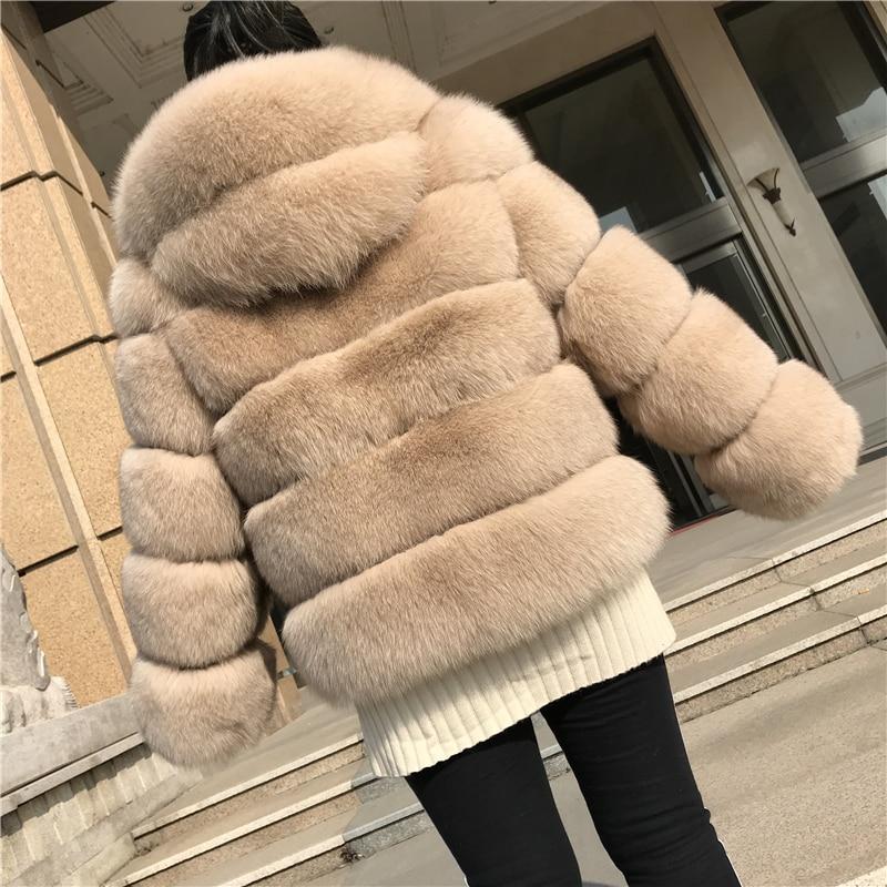 Real Fox Fur Hooded Coat Women Winter Jacket Genuine Fox Fur Overcoat Luxury Thick Warm Natural Fox Fur Coat Female with Hood