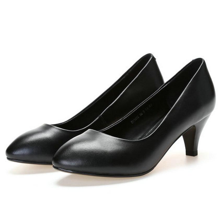 Printemps 7cm Chaussures Cuir 5cm Mince 5 Solide 4 En Black Vinlle Taille 42 4cm black Mode 2018 Cm Haute black 5 Dames 34 Talon Pompes Véritable 5 7 Noir Femmes aOqwWFWxE