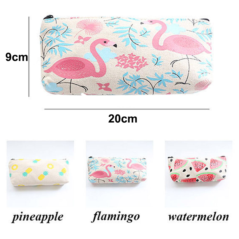 1 St Canvas Flamingos Watermeloen Ananas Make Pouch Briefpapier Etui Zip Cosmetische Pouch Portemonnee School Suppply Geschenken Supplement The Vital Energy And Yin