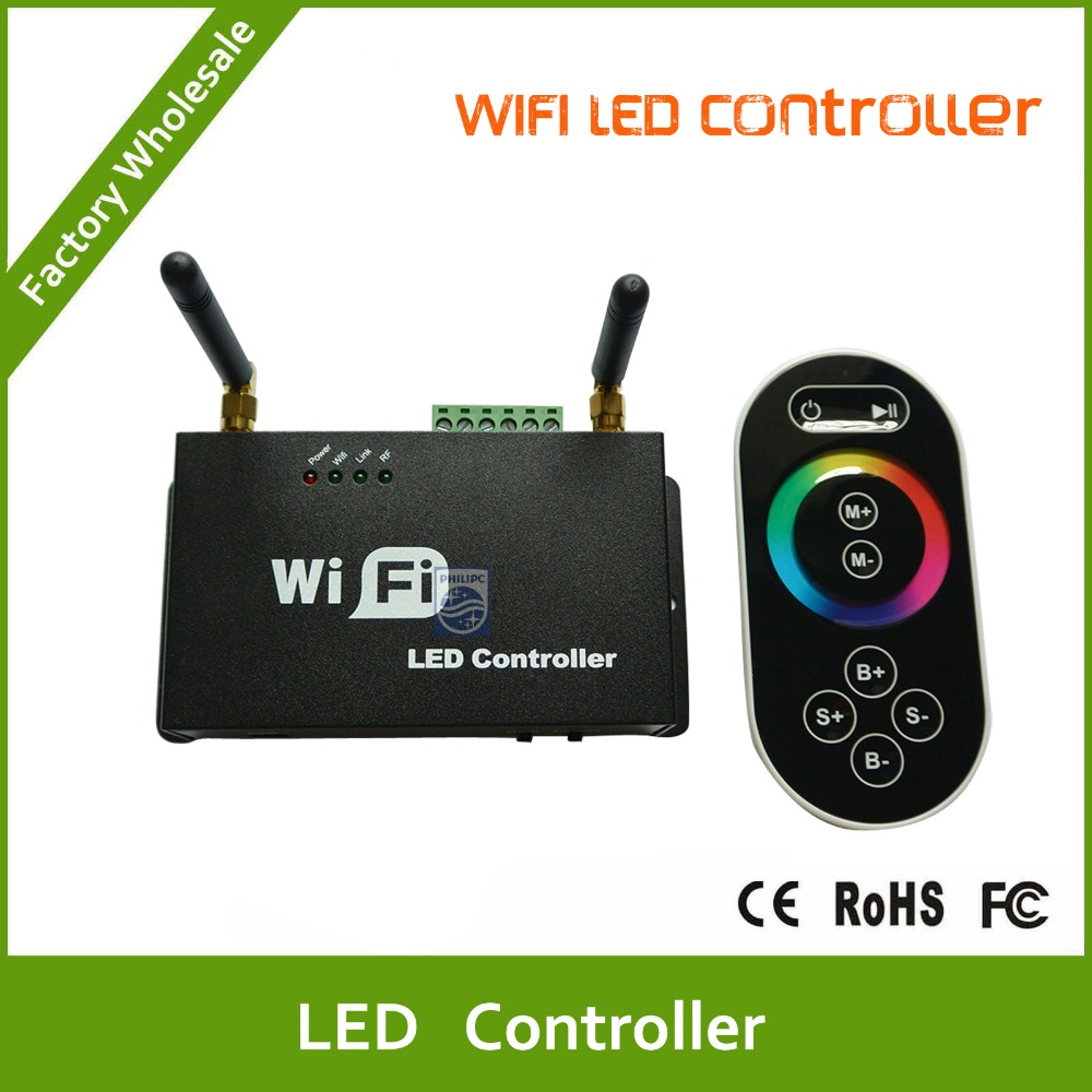 DHL Free shipping Wifi LED Controller for smart Phone with RF Touch Screen Remote for RGB LED Strips 10pcs free dhl black touch screen