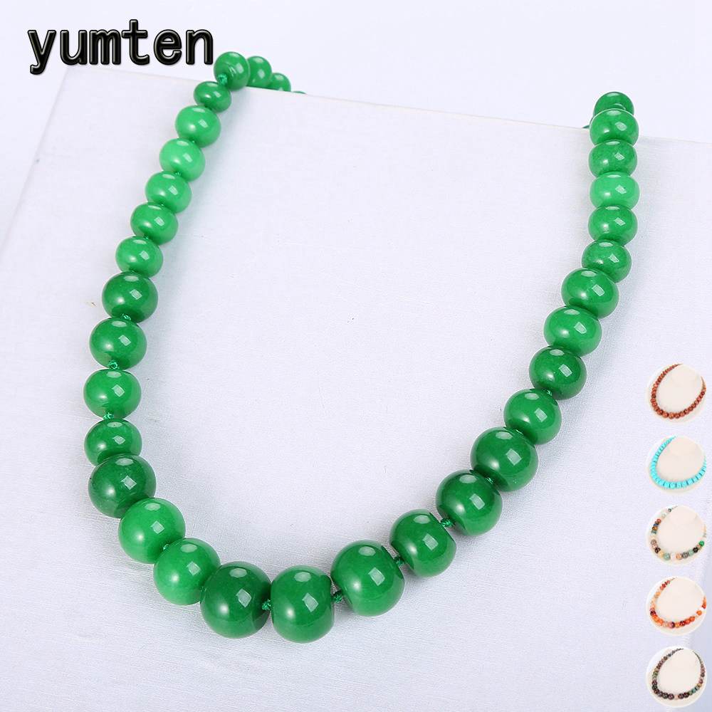 все цены на Yumten Green Jasper Necklace Beads Women Statement Jewelry Natural Stone Accessories Vintage Crystal Chain Men Ethnic Choker онлайн