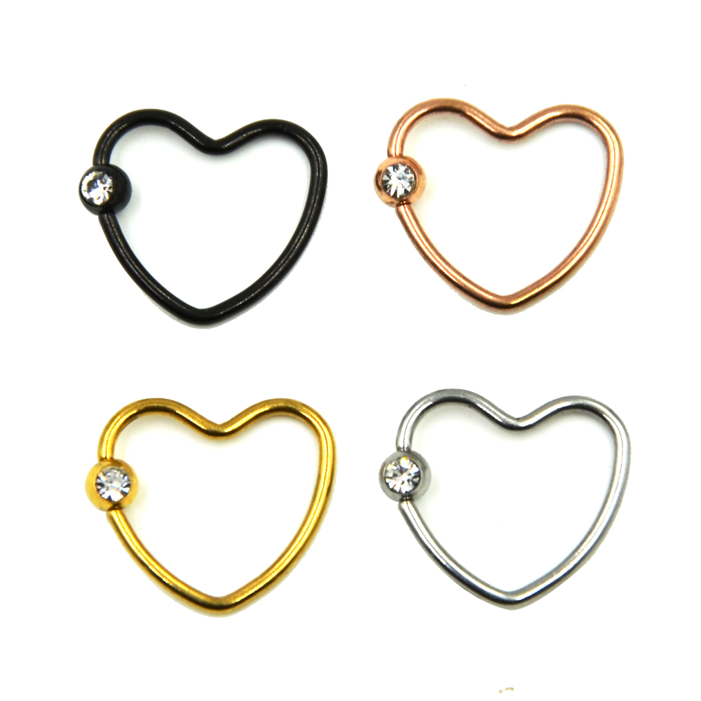 Anodized Colorful Cz Crystal Daith Heart Captive Bead Ring Ear Helix Tragus  Cartilage Lip Ring Piercing