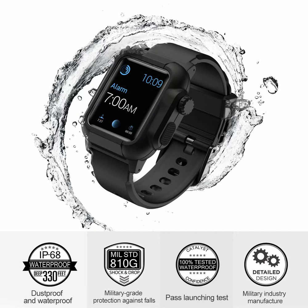 check out 3cc5a c3e51 Waterproof Silicone Strap For Apple Watch band case 42mm Sport Iwatch  Series 3 2 wrist belt watchbands+Protective cover