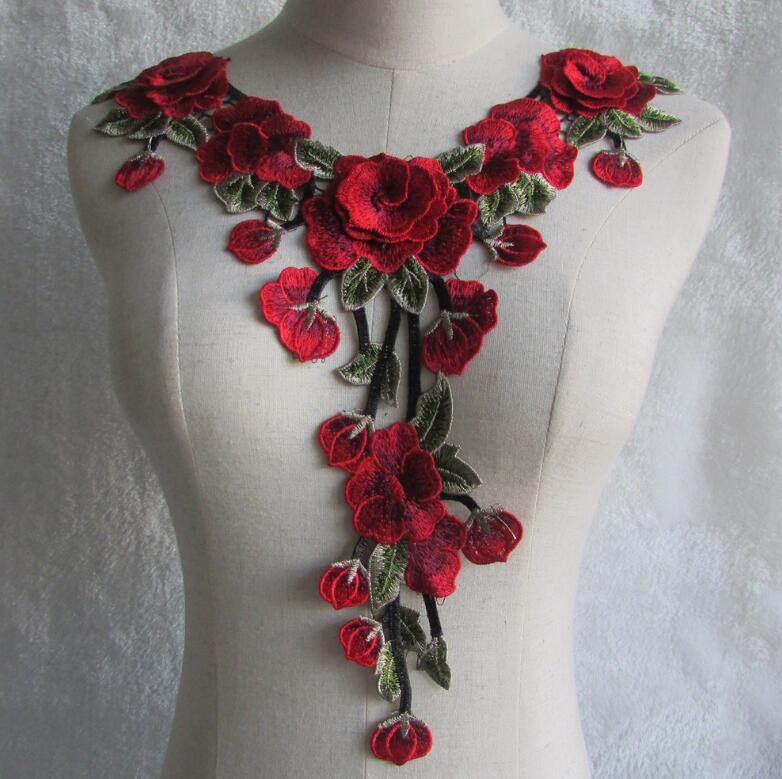 Women's Korean Fashion Lace Fake Collar Lady's Red Flower Embroidery Diy Accessories Ties Detachable Collar R1035