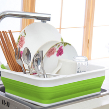 Folding Drain Bowl Rack Dish Rack Cutlery Storage Box Collapsible Dish Drainer Cutlery Stand Cup Holder Kitchen Tools