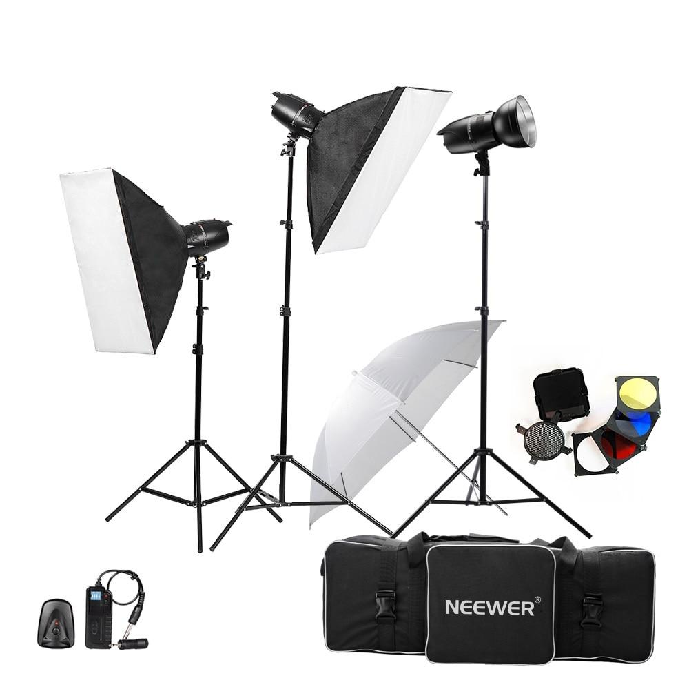 Neewer 750W(250W x 3) Photography Studio Flash Strobe Light Lighting Kit for Photography,Studio Video Shoots(EG-25) US Plug godox 300sdi 900w 300wx3 studio flash lighting flash trigger rt 16 50x70 diffuser flector photography strobe light kit