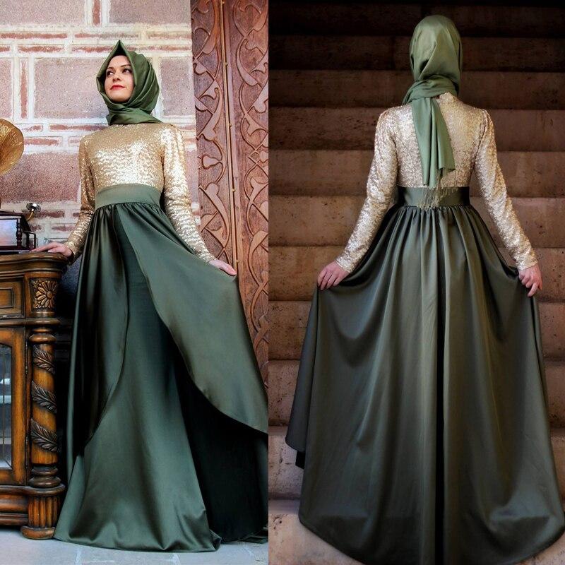 2015 nouvelle mode à manches longues caftans musulmans robes de soirée Dubai Sequin femmes malaisie musulmans Abaya robes 2 couleurs ZED77