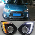 free shipping,Turn Signal and dimmer Car LED DRL Daytime running light with fog lamp hole for Mitsubishi ASX 2013 2014 2015