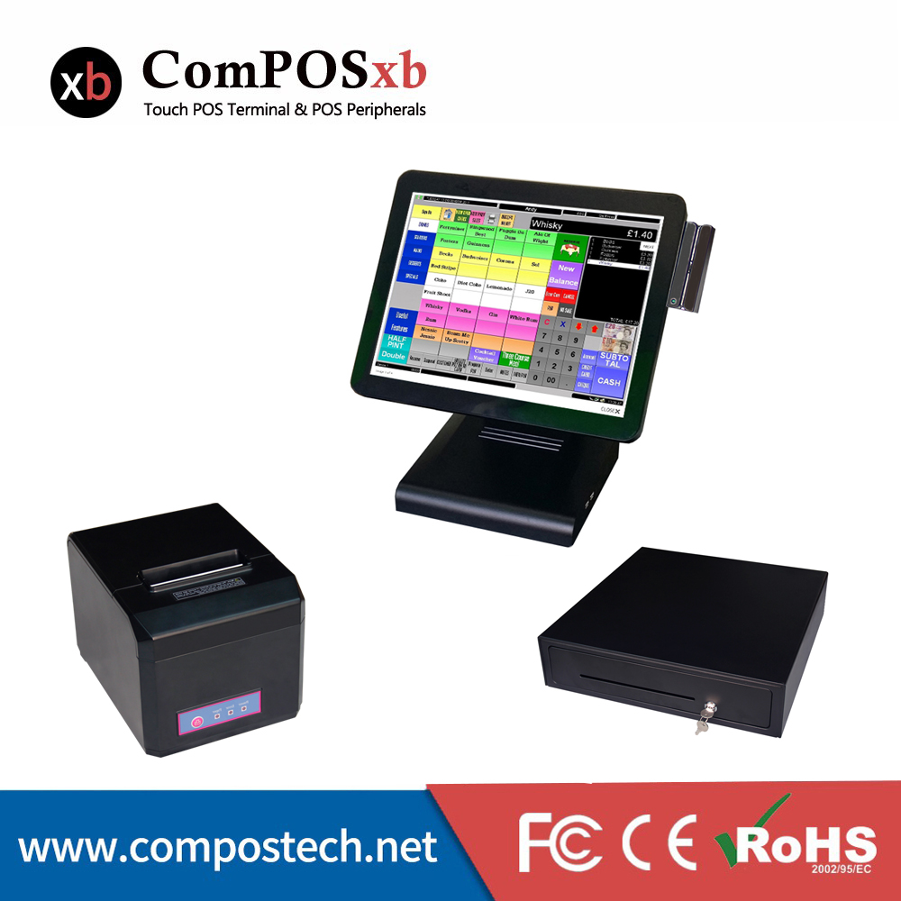 15 inch LCD Retail POS Point Of Sale All In One Flat panel touch screen with printer cash drawer for KTV/Supermarket