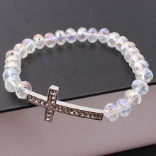 HOCOLE Women's Crystal bracelet Charm Natural stone Beades Cross bracelets White bracelet for Female Jewelry wholesale(China)