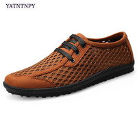 YATNTNPY Casual Men's Shoes big size 38 46 Shoes 3D Mesh Sneaker, breathable flat shoes lace up Loafers Alligator Moccasins
