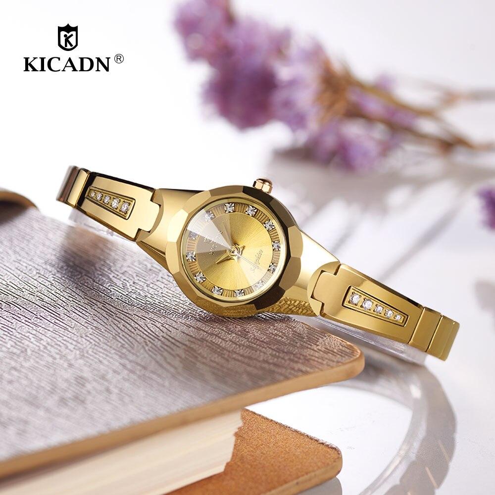 KICADN Ladies Fashion Tungsten Steel Quartz Watch Women Elegant Diamond Small Bracelet Watch Woman Luxury Sapphire Vintage Clock цена и фото