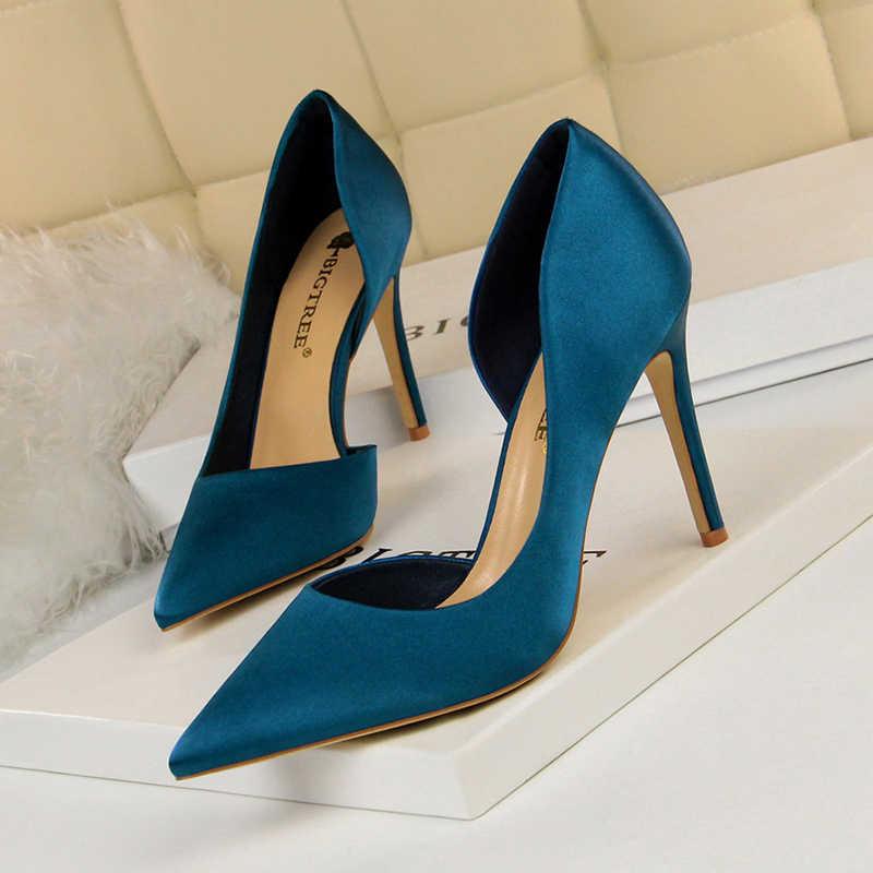 BIGTREE màu xanh màu xanh lá cây cao gót giày phụ nữ bơm stiletto escarpins sexy hauts địa ngục bên thanh lịch thời trang chaussure femme talon