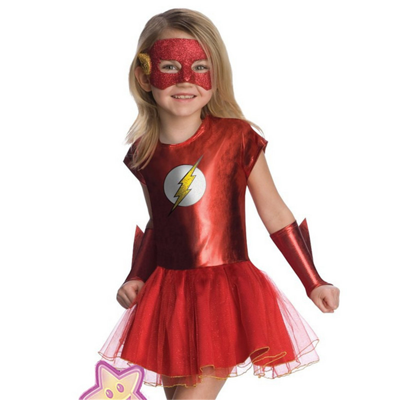 2018 New high quality Girls red Flash Superhero Cosplay clothing kids party girls child cute cartoon supergirl dress Halloween