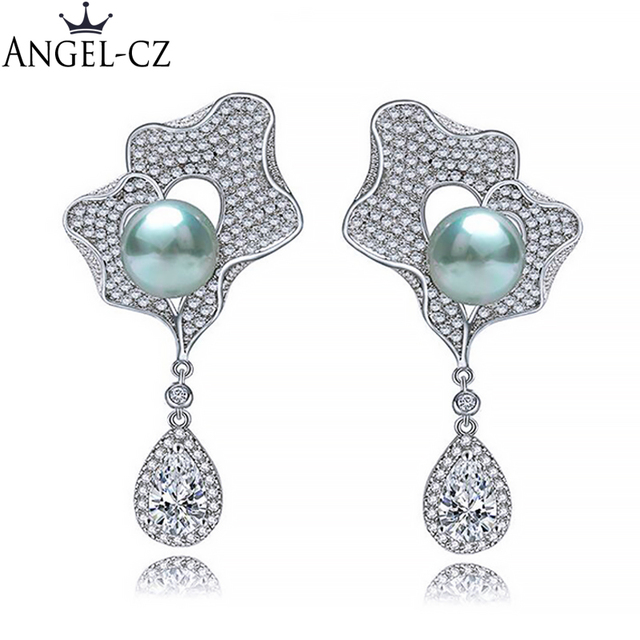 368739a61f9cc ANGELCZ High Quality Black Pearl Jewelry With Bling Tear Drop Cubic Zircon  Crystal Long Bridal Dangling Earrings For Women AE066-in Drop Earrings from  ...
