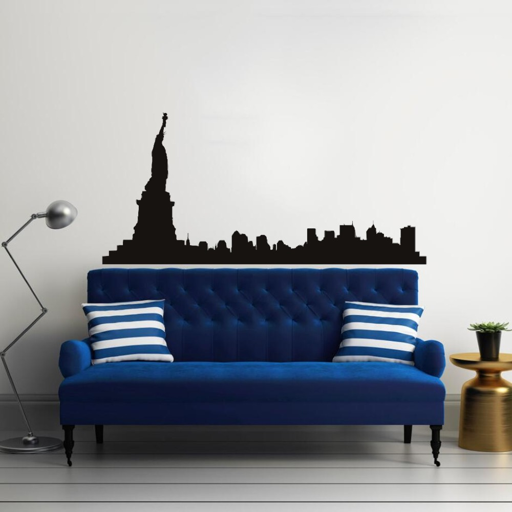 Morden New York City Silhouette Vinyl Wall Sticker Statue Of Liberty Art Living Room Decoration Mural Y-429