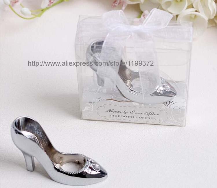 ad71776b487c 300pcs Cinderella Shoe High Heel Shoe Bottlecap Beer Bottle Can Opener Fun  Openers Collectible Shower Wedding Gift party Silver