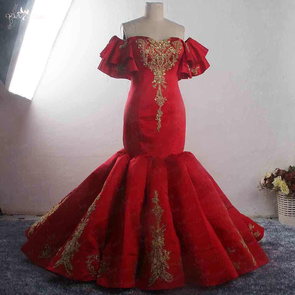 RSE896 Off Shoulder Ruffles Sleeve Gold Lace Appliqued Sweetheart Neckline Mermaid  Luxury Plus Size Red Wedding Dress Pleated f5c31fbd3c7b