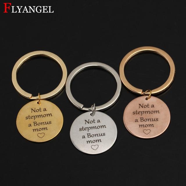Fashion Jewelry Keyring Hand Stamped Not A Stepmom Bonus Mom Women Stainless Steel Keychain Mothers Day Birthday DIY Gift