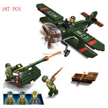 LegoINGlys military World War II bomber assault Anti-aircraft guns war Building Blocks mini army figures brick toys for children