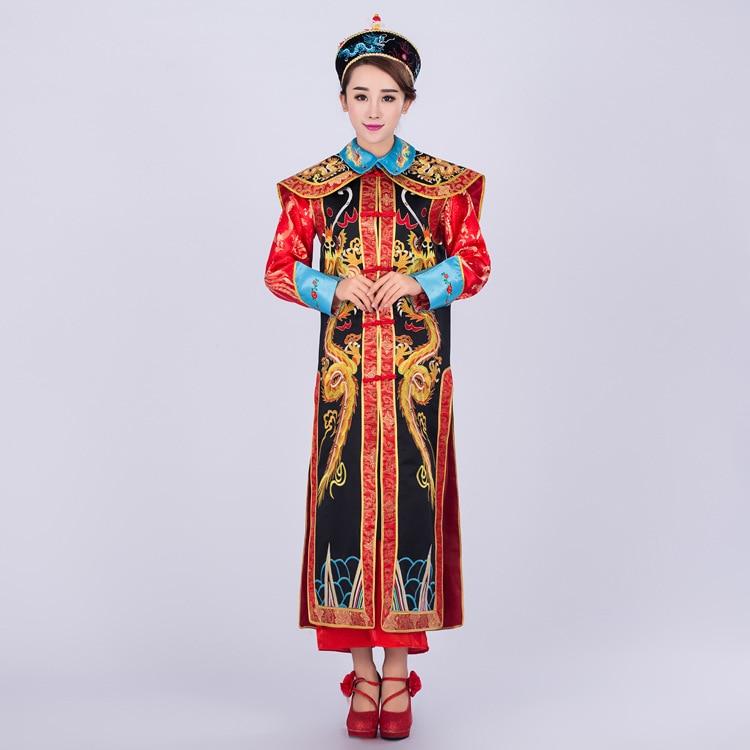 Haute qualité empereur chinois Costume traditionnel chinois ancien empereur reine Costume la dynastie Qing Dragon Robe