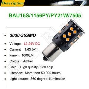 Image 2 - 2 sztuk 1156PY PY21W samochodu LED bursztynowy żółty pomarańczowy Canbus nie OBC błąd Hyper Flash włączony kierunkowskaz BAU15S 7507 12V 24V żarówka