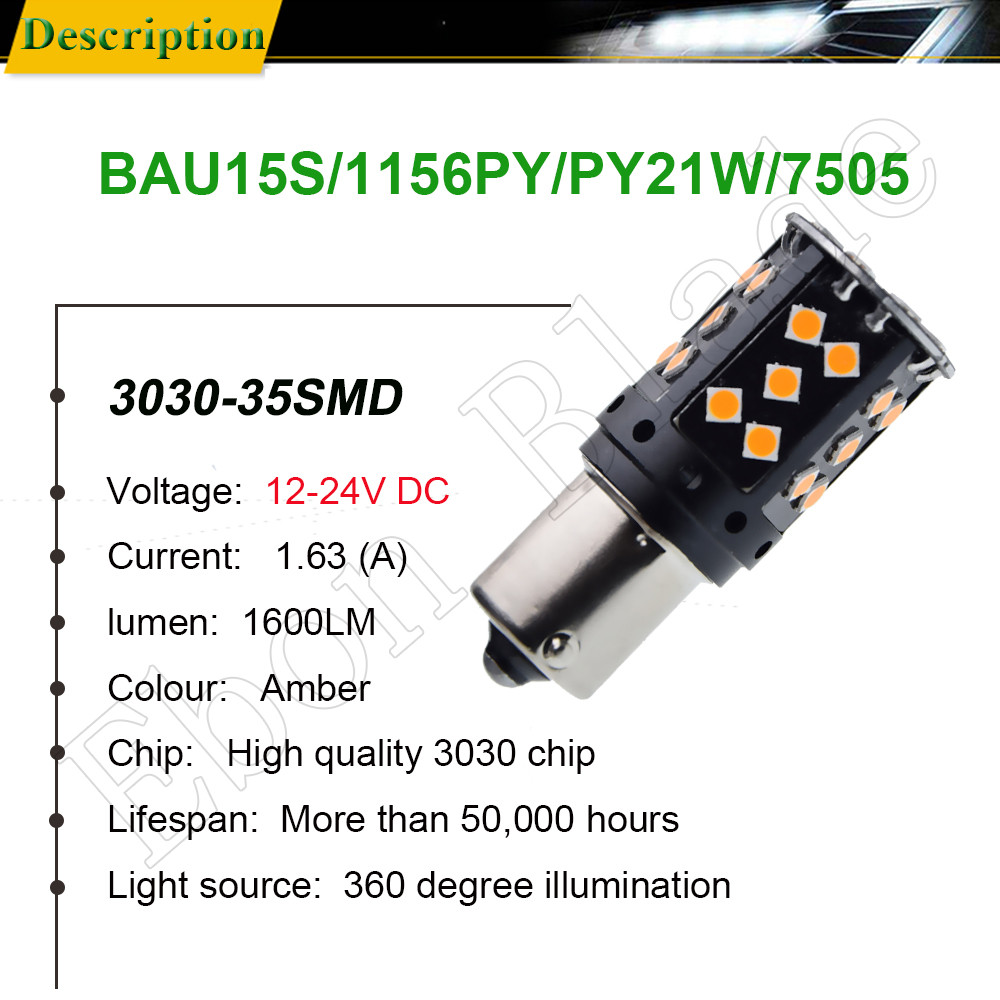 Image 2 - 2Pcs 1156PY PY21W Car LED Amber Yellow Orange Canbus No OBC Error Hyper Flash Turn Signal Light BAU15S 7507 12V 24V Auto Bulb-in Signal Lamp from Automobiles & Motorcycles