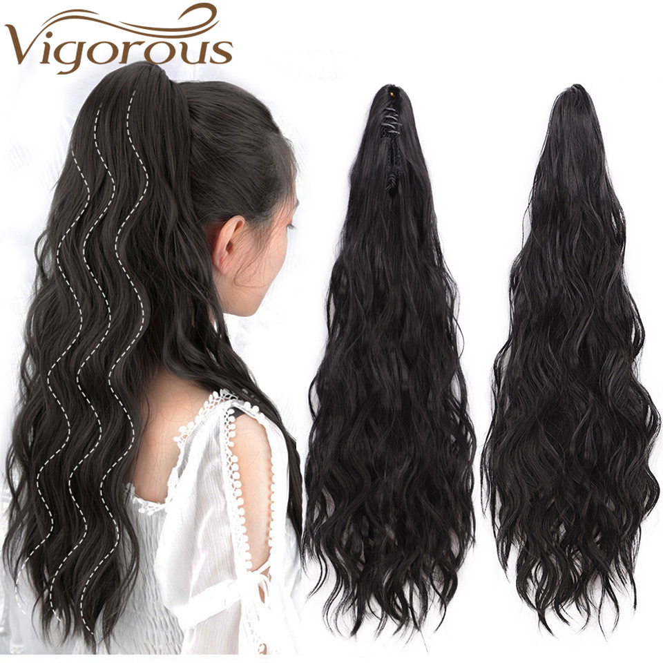Vigorous Synthetic Long Wavy Curly Ponytail Extension Clip -9348