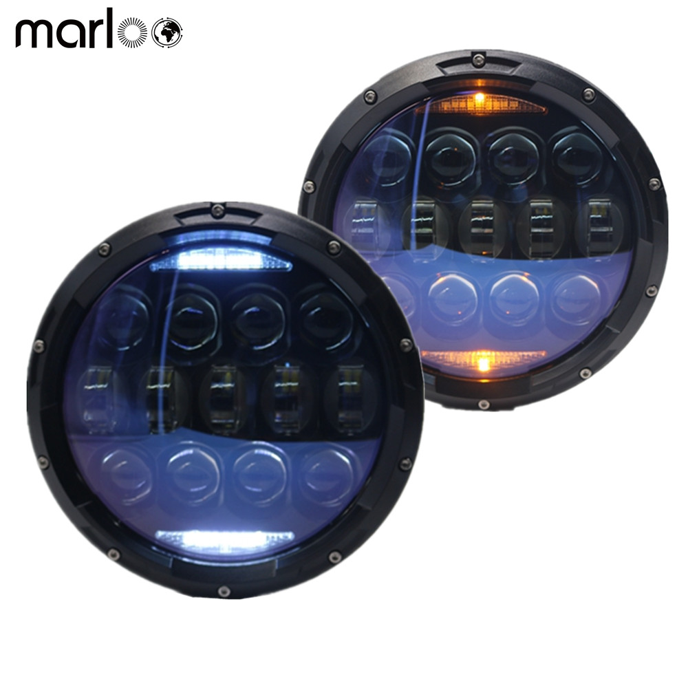Marloo 7 inch LED Headlights Daymaker DOT Blue Projector DRL Turn Signal Light For Jeep Wrangler JK JKU TJ LJ CJ Sahara Rubicon 7 led halo headlights for jeep wrangler jk jku tj lj rubicon sahara unlimited white drl amber turn signal 4 halo fog light