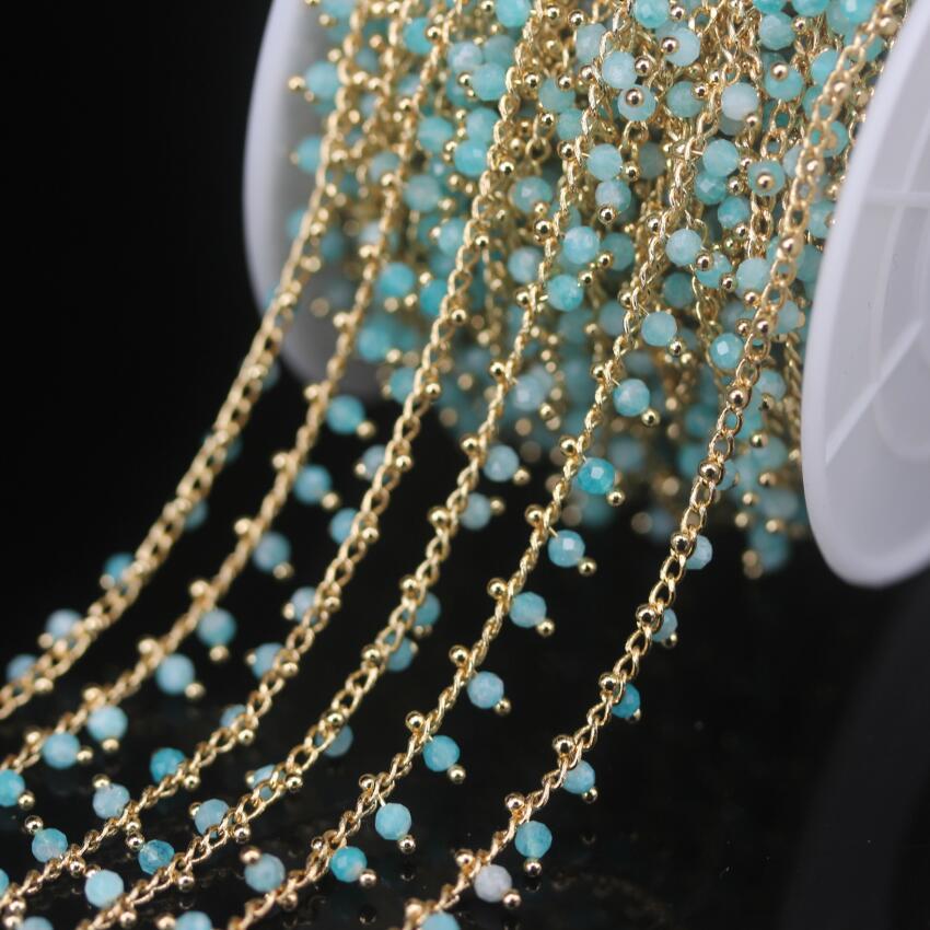 5 mètres naturel Amazonite 2mm facettes rondes perles chapelet chaîne, couleur or en laiton fil enroulé collier Bracelet chandail chaînes